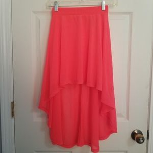 Divided high low neon coral skirt